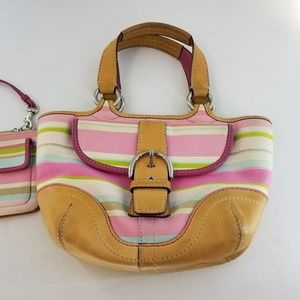 COACH Hampton Pink Stripe Small Purse and Wallet